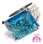 ROYAL CARIBBEAN GLASS SEA BLUE CZ GEOMETRIC CHUNKY RING