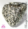 Floral Filigree Chunky Boxy Square Stainless Steel Ring