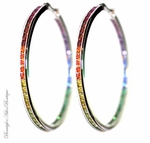 GODS PROMISE SAPPHIRE RUBY RAINBOW CZ HOOP EARRINGS