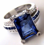 JEWELRY COCKTAIL SAPPHIRE BLUE & CLEAR LA JOLLA CZ RING