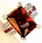 GARNET RUBY RED CLEAR CZ LA JOLLA CHRISTMAS RING