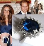 PRINCESS CHECKER-CUT KATHRYN  KATE DIANA ENGAGEMENT SAPPHIRE CZ RING