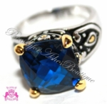 BEAUTY FOR ASHES SAPPHIRE BLUE CZ TWO TONE SIGNATURE RING
