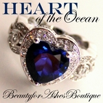 LOVE TITANIC OF THE OCEAN SAPPHIRE BLUE HEART CZ RING