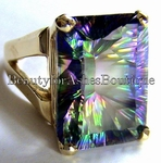 SOLID 14K GOLD MYSTIC TOPAZ GEMSTONE RING SIZE 10