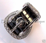 DESIGNER INSPIRED DIAMANTE BLACK CZ BELT BUCKLE RING