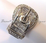 DESIGNER DIAMANTE CLEAR CZ BELT BUCKLE RING