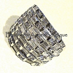Designer Inspired Basket Weave Clear CZ Baguette Ring
