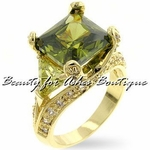 GOLD PLATED GARDEN OF EDEN OLIVINE & PERIDOT CZ RING