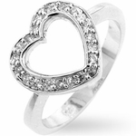 STERLING SILVER CLEAR CZ HEART RING