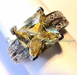 DESIGNER INSPIRED CANARY SIMULATED DIAMOND CZ RING