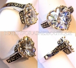 JEWELRY HEART RING VALENTINE CLEAR STONE CZ TWO TONE