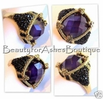 THE QUEEN GOLD PLATED ROYALE PURPLE JET CZ RING