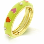 YELLOW ENAMEL PINK & ORANGE HEARTS GOLD BONDED  BAND RING