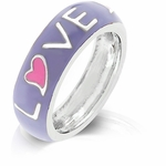 LAVENDER ENAMEL LOVE HEART BAND RING