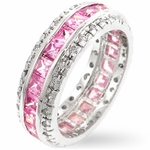 FAVERO PRINCESS CUT STERLING SILVER PINK  CUBIC ZIRCONIA BAND RING