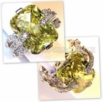 DESIGNER INSPIRED POSH RING PERIDOT CZ RING