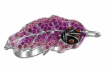 BLACK ENAMEL LADYBUG PINK CRYSTAL LEAF KNUCKLE ADJ RING