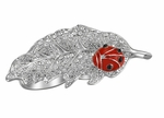 RED ENAMEL LADYBUG CLEAR CRYSTAL LEAF KNUCKLE RING ADJ.