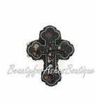 FLORAL DRK CROSS ANTIQUED SILVERTONE BEADS STRETCH RING