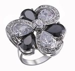 DESIGNER CUBIC ZIRCONIA BLACK WHITE FLOWER RING