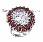 RED WHITE RUBY CLEAR CZ RING BURST JEWELRY FLOWER LARGE