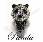 BEAUTY FOR ASHES PANDA BEAR BLACK CRYSTALS STRETCH RING