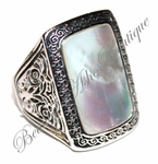 DESIGNER INSPIRED MOTHER OF PEARL ELONGATED RING