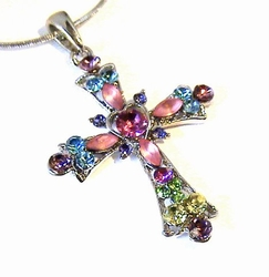 AUSTRIAN CRYSTAL CROSS MULTI COLOR PINK CROSS NECKLACE