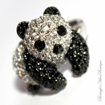 PANDA TEDDY BEAR CUTE FUN BLACK WHITE CZ RING