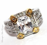 CLEAR CZ TWO TONE GORGEOUS FANCY GLAM COCKTAIL RING