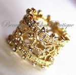 VINTAGE STYLE BAND CROWN PRINCESS MAJESTY EVENING PROM FILIGREE RING