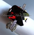 POSH RING DARK CHERRY MERLOT GARNET CHRISTMAS RED CZ RING