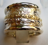 Israeli silver and gold spinning rings