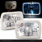 "Universal 7""x 6"" Halo Rim Headlights with H4 Super White Bulbs"