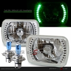 "Universal 7""x6"" Diamond Cut DRL SMDx20 Green LED Headlights"