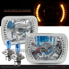 "Universal 7""x6"" Diamond Cut DRL SMDx20 Yellow LED Projector Headlights"