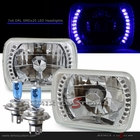 "Universal 7""x6"" Diamond Cut DRL SMDx20 Blue LED Headlights"