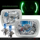"Universal 7""x6"" Diamond Cut DRL SMDx20 Green LED Projector Headlights"