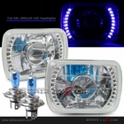 "Universal 7""x6"" Diamond Cut DRL SMDx20 Blue LED Projector Headlights"