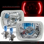 "Universal 7""x6"" Diamond Cut DRL SMDx20 Red LED Headlights"