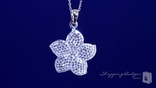"""White Crystal Flower Necklace in Sterling Silver, 16""""-20"""""""