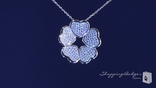 """Pave CZ Five Leaf Heart Clover Necklace in Sterling Silver, 16"""""""