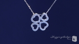 Pave CZ Four Leaf Open Heart Clover Necklace in Sterling Silver, 16""