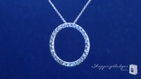 Diamond Cut Eternity Circle Pendant Necklace in 14K White Gold