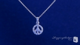 Sparkling Petite CZ Peace Sign Necklace in Sterling Silver, 16""