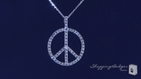 "Pave CZ Peace Sign Necklace in Sterling Silver, 16""-20"""