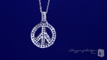 "White Crystal Peace Sign Necklace in Sterling Silver, 16"" or 18"""