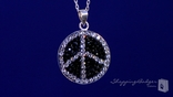 Black & White Crystal Peace Sign Necklace in Sterling Silver, 18""