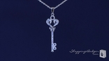 CZ Heart Shape Key Necklace in Sterling Silver, 16 inch
